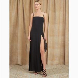 Reformation keys black long slit dress